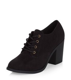 5aea7c1bee2a Black Suedette Lace Up Shoe Boots