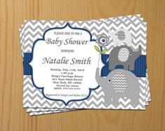 Blue Baby Shower Invitation Boy Elephant Baby Shower Invitation Baby Boy Shower Invitation Baby Shower Invite (06) / Free Thank You Card