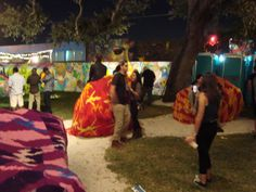 Yarn bombed rocks in Wynwood Arts District