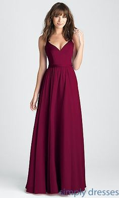 Shop burgundy red classic prom dresses at Simply Dresses. V-neck satin and chiffon formal dresses with deep v-backs and long a-line skirts.