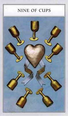 The nine of cups represents contentment and overall satisfaction with what has been achieved. We find ourselves surrounded by our fulfilled wishes. Enjoy this time in your life. Nine Of Cups, Psalm 42, Tarot Card Decks, Tarot Cards, Roman Mythology, Tarot Readers, Major Arcana, Card Sizes, Renaissance
