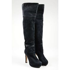 Pre-Owned Maxmara Black Suede Over the Knee Heeled Boots Sz 37 ($185) ❤ liked on Polyvore featuring shoes, boots, black, black high heel boots, black suede boots, over the knee high heel boots, over the knee heeled boots and over-the-knee suede boots