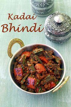 Kadai Bhindi Recipe (How to make Kadai Bhindi Sabzi Recipe) Okra Recipes, Curry Recipes, Cooking Recipes, Paneer Recipes, Cooking Food, Cheese Recipes, Fish Recipes, Bhindi Masala Recipe, Sabzi Recipe