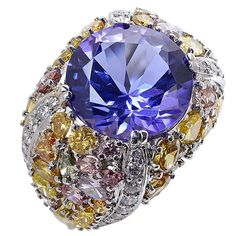11.70 Carat Tanzanite Diamond Ring | From a unique collection of vintage fashion rings at https://www.1stdibs.com/jewelry/rings/fashion-rings/