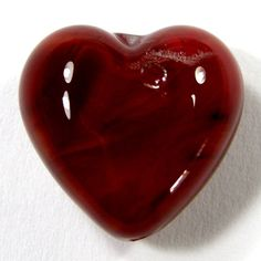 Encased Cubic Zirconia Red Lampwork Glass Heart Bead Air Bubbles 18mm | Covergirlbeads - Jewelry on ArtFire