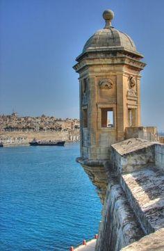 most recognizable part of Valletta at Senglea Castle, Malta Copyright: Alex Kalantzis Places Around The World, Travel Around The World, Around The Worlds, Malta History, Malta Beaches, Malta Valletta, Malta Gozo, Malta Island, Southern Europe