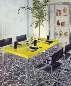 yellow laminate and chrome table, leather directors chairs, wacky patterned tile floor, vertical blinds Yellow Dining Room, Dining Room Table, Living Room Furniture, Home Furniture, 1970s Furniture, 70s Decor, Home Decor, Interior Decorating, Interior Design