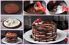 Chocolate Pancake <3  recipe here ==> http://lovecookeat.com/chocolate-pancake-cake/
