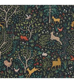 Folkland Fabric - Admiral Upholstery fabric to recover grams chairs for playroom Design Floral, Motif Floral, Textile Design, Fabric Design, Textures Patterns, Fabric Patterns, Print Patterns, Animals Tattoo, Motifs Textiles