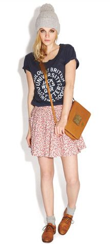 Jack Wills Spring 2013 - graphic tee and floral skirt Summer Fashion Outfits, Fall Winter Outfits, Outfits For Teens, Stylish Outfits, Cool Outfits, Indie Fashion, Cute Fashion, Teen Fashion, Preppy Style
