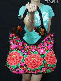 Vintage Flowers Embroidered Hmong Bag Ethnic - Pink Tote Bag Shoulder Bag Boho Style