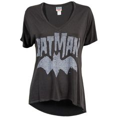Junk Food Ladies Batman Logo Oversized T Shirt Black Wash ($35) ❤ liked on Polyvore