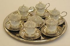 Palace Style Totally Handmade Copper Turkish Coffee Espresso Serving Set Swarovski Style Crystal Coated - Silver Color