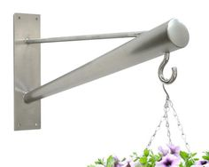 Stainless steel wall bracket for hanging baskets, bird feeders, topiary balls, lights, lanterns, wind chimes or similar