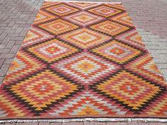 "Vintage Turkish Kilim Rug,Antique Rug,Antalya Classic 72""x107"" Area Rug,Carpet #Turkish"