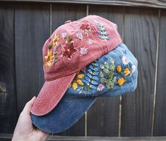 Wildflowers Hand Embroidered Baseball Caps