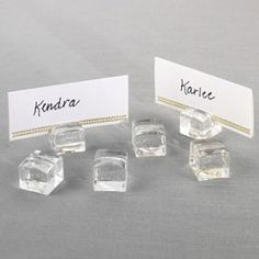 """""""ice cube"""" place card holders"""