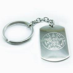 Tetragramaton Grabado en Acero + Cadena/llavero Personalized Items, Positivity, Minerals, Gems, Printmaking, Chains, Key Fobs