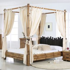 Cabana Himmelbett-Bambus Bett 180x200 Himmel Himmelbetten Bambusbett Natur in Möbel & Wohnen, Möbel, Betten & Wasserbetten | eBay