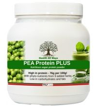 PEA Protein PLUS High protein pea powder with added phyto-nutrients:This concentrated (80%) pea protein powder from garden peas has been blended with 9 superfoods and herbs to offer an excellent amino acid profile, along with a high level of phyto-nutrients and antioxidants for all-round nutritional support.  This protein shake is easily digestible (no bloating), naturally low in carbohydrates and fat and suitable for vegetarians and vegans.