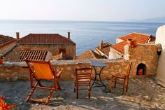 Morning in Monemvasia, Greece Monemvasia Greece, Outdoor Spaces, Outdoor Decor, Rooftop Terrace, Medieval Town, Stone Houses, Adventure Awaits, Sun Lounger, Outdoor Furniture Sets