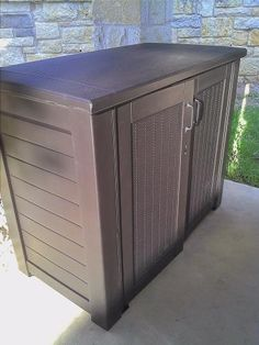 Rubbermaid Rattan Patio at The Home Depot Patio Cushion Storage, Deck Storage Bench, Patio Cushions, Shed Storage, Trash Can Storage Outdoor, Outdoor Storage Sheds, Garbage Shed, Garbage Storage, Pool Equipment Cover