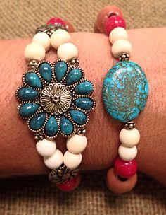 Boho Flower Beaded and Chain Bracelet Set