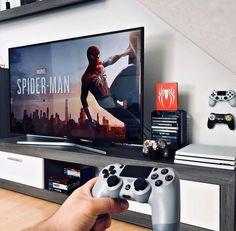 Bedroom Playstation, Living Room Setup, Video Game Rooms, Game Room Design, Cute Room Decor, Gamer Room, Computer, Interior Design Living Room, House Design