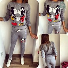 Autumn Women Casual Sportswear Lovely Mickey Printed Hoodies Women Tracksuit Two Pieces Set Long-sleeved Kawayi Sportswear Sports Sweatshirts, Printed Sweatshirts, Suits For Women, Clothes For Women, Streetwear, Tracksuit Tops, Street Looks, Fashion Moda, Women's Fashion