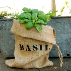 Mini Burlap Bag with Basil by VintageJunkyStyle on Etsy, $6.00