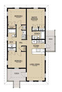 Plano de casa de campo de 95m2 con 3 dormitorios