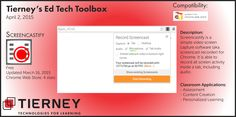 #TierneyTools April 2, 2015: Screencastify https://www.screencastify.com/ Follow TierneyEd on Twitter and Tierney Brothers on Facebook for new tech tools!  https://www.facebook.com/TierneyBrothers https://twitter.com/TierneyEd #edtech