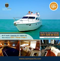 Hot Summer Offer on Luxury Yachts in Dubai.  Charter 55 Feet Yacht For 3 Hours and Get 1 Hour Free. Offer valid till 1st Sep 2017. For Booking +971 529440222 https://cozmoyachts.com/yachts/rent-55-feet-carnevali-italian-yacht #summer #deal #dubai #dubaimarina #yachtcharter #exclusive