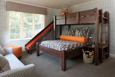 Twin over Queen Bunk bed with Slide