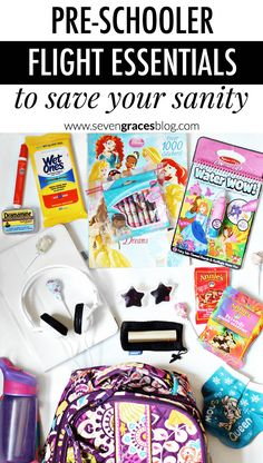 Pre-schooler flight essentials to help save your sanity. All the things you'll need in your child's carry-on bag and tips and tricks for flying with a young child.