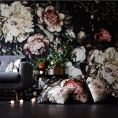 "Dark Floral II Black Saturated on Silk Satin Cushions and XL (200%) Wallpaper, with the largest white flowers at 94 cm (37"") in diameter - by Ellie Cashman Design"