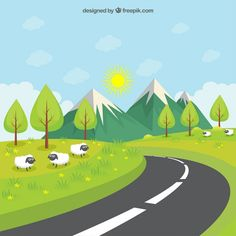 Road throught the green meadow Premium Vector