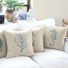 "Amazon.com - MagicPieces Cotton and Flax Ocean Park Theme Decorative Pillow Cover Case D 18"" x 18"" Square Shape-ocean-beach-sea-print-blue-s..."