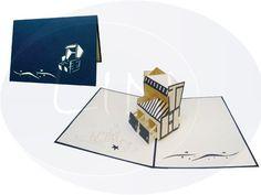 Aufklappbare POP UP Geburtstagskarte mit Strandkorb. Mehr entdecken auf: www.lin-popupkarten.de Pop Up 3d, Pop Up Karten, Playing Cards, Beach Tops, Gift Cards, Birth, Boxing, Playing Card Games, Game Cards