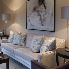 Greys with hints of dusty pink and aubergine #luxuryinteriors #sophiepatersoninteriors