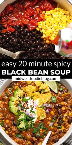 This spicy black bean soup makes the perfect quick and easy weeknight dinner or simple meal prep recipe for a busy week! Loaded with beans, veggies, and rice – this vegan soup is hearty enough to please even the meatiest of carnivores in your life! Whole Foods, Whole Food Recipes, Cooking Recipes, Healthy Recipes, Simple Soup Recipes, Veggie Soup Recipes, Vegetarian Bean Recipes, Vegan Black Bean Recipes, Vitamix Soup Recipes