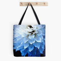 Blue Floral Tote Bag Custom Tote Bag:  Watercolor by ChezLorraines