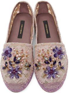 Dolce & Gabbana | Purple Embellished Lace Espadrilles | Accessories | Shoes http://wp.me/p8sfaK-1hI