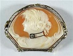 Hand Carved Shell Cameo Brooch Depicting A Woman's Profile, Wearing A Diamond Necklace, Mounted In 14k White Gold Filigree Frame