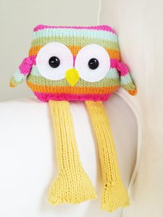 This listing includes a PDF knitting pattern tutorial on how to make a stuffed toy owl. The example shown uses a worsted weight yarn and measure