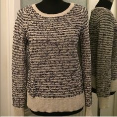 LOFT striped sweater If you love stripes, this sweater belongs in your closet!  Textural stripes. Black and off white. Great dressed up or down. trades.  bundles. LOFT Sweaters Crew & Scoop Necks