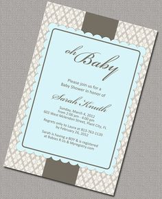 Blue and Brown Damask Baby Shower Invite Boys by alittletreasure, $15.00