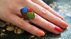 A Colorful Macrame (Micro Macrame) Square Ring