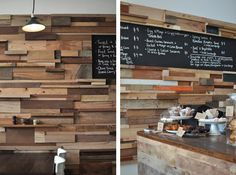 Slowpoke Cafe, interior wall made out of repurposed timber offcuts.