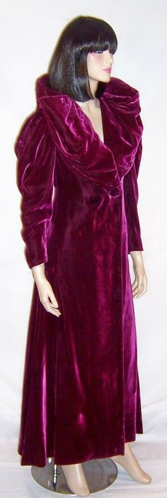 Opulent Plum-Colored Velvet Coat from Ransohoffs-San Francisco | From a collection of rare vintage coats and outerwear at http://www.1stdibs.com/clothing/coats-outerwear/